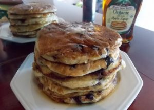 Panquecas Americanas de Banana e Blueberry (mirtilo)